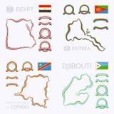Kolory Egipt, Erytrea, Demokratyczna republika Djibouti i Kongo ilustracji