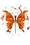 Kolory i paintbrush zrobili motyla Zdjęcie Stock