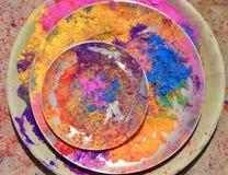 Kolory, Indiański festiwal Holi, świętowanie, radość Zdjęcia Stock