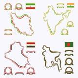 Kolory Iran, India, Irak i Bangladesz, ilustracji