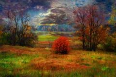 kolory kształtują teren wibrującego czerwonego zmierzch Obrazy Royalty Free