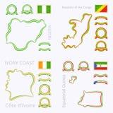 Kolory Nigeria, republika d'Ivoire i gwinea równikowa Kongo, Cote, ilustracji
