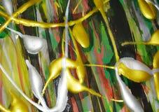 Kolory, złoto fiołka srebra zielony żółty pomarańczowy muśnięcie muskają akwareli farbę Akwareli farby abstrakta tło fotografia stock