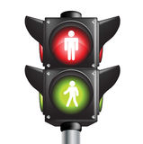 kolory zaświecają pieszy znaka ruch drogowy dwa Fotografia Stock