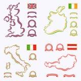 Kolory Zjednoczone Królestwo, Włochy, Irlandia i Austria, Zdjęcie Royalty Free
