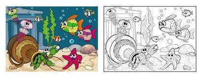 Kolorystyka morski życie na dnie morskim ilustracja wektor