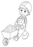 Kolorystyka talerz ilustracja dla dzieci - pracownik budowlany - ilustracji