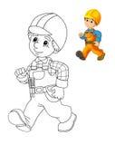 Kolorystyka talerz ilustracja dla dzieci - pracownik budowlany - ilustracja wektor