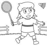 Kolorystyki dziewczyna Bawić się Badminton w parku Obrazy Royalty Free