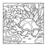 Kolorystyki książka, bezbarwny abecadło dla dzieci: (żółw) list royalty ilustracja