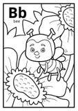 Kolorystyki książka, bezbarwny abecadło Listowy b, pszczoła ilustracja wektor