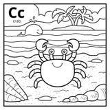 Kolorystyki książka, bezbarwny abecadło Listowy C, krab ilustracja wektor