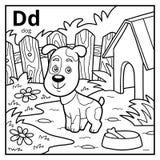 Kolorystyki książka, bezbarwny abecadło Listowy d, pies royalty ilustracja