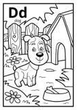 Kolorystyki książka, bezbarwny abecadło Listowy d, pies ilustracja wektor