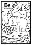 Kolorystyki książka, bezbarwny abecadło Listowy E, słoń royalty ilustracja