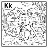 Kolorystyki książka, bezbarwny abecadło Listowy K, kangur ilustracja wektor