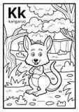 Kolorystyki książka, bezbarwny abecadło Listowy K, kangur royalty ilustracja