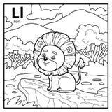 Kolorystyki książka, bezbarwny abecadło Listowy L, lew ilustracja wektor