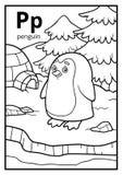 Kolorystyki książka, bezbarwny abecadło Listowy P, pingwin ilustracja wektor