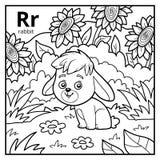 Kolorystyki książka, bezbarwny abecadło Listowy R, królik royalty ilustracja