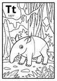 Kolorystyki książka, bezbarwny abecadło Listowy T, tapir ilustracji