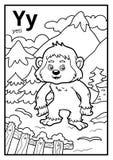 Kolorystyki książka, bezbarwny abecadło Listowy Y, yeti ilustracja wektor