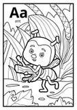 Kolorystyki książka, bezbarwny abecadło Pisze list A, mrówka ilustracja wektor