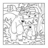 Kolorystyki książka, bezbarwny listowy b (niedźwiedzie w lesie) ilustracja wektor