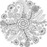 Kolorystyki książka dla dorosłego Abstrakcjonistyczny doodle tło robić kwiaty i motyl royalty ilustracja