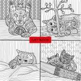 Kolorystyki książka dla dorosłych - 2 cztery rysunku barwi kot strony dla dorosłych i dzieci set, doodle Fotografia Royalty Free
