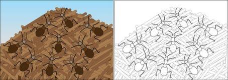 Kolorystyki książka dla dzieci Mrówki czołgać się na anthill royalty ilustracja