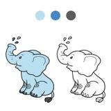 Kolorystyki książka dla dzieci: słoń Zdjęcia Stock