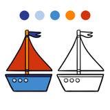 Kolorystyki książka dla dzieciaków, jacht ilustracja wektor