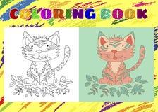 Kolorystyki książka dla dzieciaków Szkicowy mały różowy tygrysi lisiątko Obraz Royalty Free