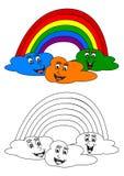 Kolorystyki książka dla małych dzieci z tęczą i rozochocone chmury royalty ilustracja
