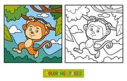 Kolorystyki książka, kolorystyki strona (małpa i tło) royalty ilustracja