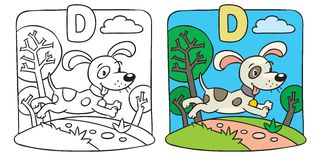Kolorystyki książka mały śmieszny pies alfabet d Obraz Stock
