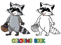 Kolorystyki książka mały śmieszny szop pracz royalty ilustracja