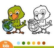 Kolorystyki książka, papuga i kula ziemska, Obrazy Stock