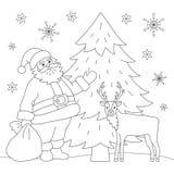 Kolorystyki książka Santa i rogacz Zdjęcie Royalty Free