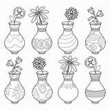 Kolorystyki książka, wektorowy bezbarwny set (wazy z kwiatami) ilustracja wektor