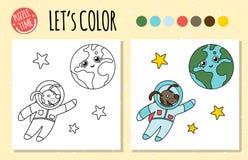 Kolorystyki książka z astronautą i ziemią royalty ilustracja