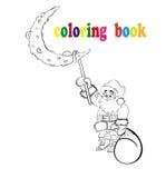 Kolorystyki książki Święty Mikołaj obwieszenie na księżyc Fotografia Stock