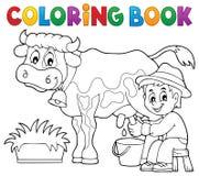 Kolorystyki książki doju średniorolna krowa Zdjęcia Stock