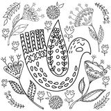 Kolorystyki książki fol dorosli Ludu ustalony wektorowy blask i whit ilustracja z pięknymi ptakami i kwiatami _ ilustracji