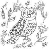 Kolorystyki książki fol dorosli Ludu ustalony wektorowy blask i whit ilustracja z pięknymi ptakami i kwiatami _ royalty ilustracja