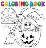 Kolorystyki książki kota Halloweenowy temat 1 ilustracja wektor