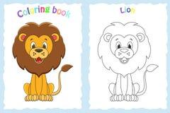 Kolorystyki książki strona dla dzieci z kolorowym lwem i nakreśleniem royalty ilustracja