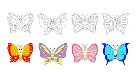 Kolorystyki książki strona dla preschool dzieci z kolorowym butterfl zdjęcia stock