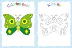 Kolorystyki książki strona dla preschool dzieci z kolorowym butterfl Obraz Royalty Free